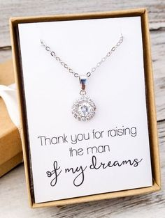 Elegant cubic zirconia necklace. The perfect gift for the mother of the groom. Comes beautifully gift boxed with ribbon with your choice of name tags on the outside of the boxes. Orders of $150 or mor