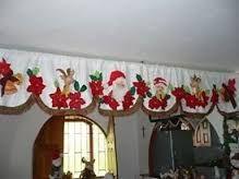 Resultado de imagen para cortinas de tela copetes navideños