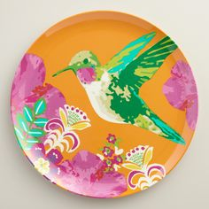 Featuring a retro-inspired hummingbird design, our break-resistant, easy-to-clean melamine dinner plates offer eye-catching style to any gathering. www.worldmarket.com #CelebrateOutdoors