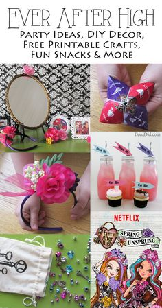 Ever After High Party ideas and tutorials including tea bag invitations, milk bottle drinkware DIY, tissue paper pom pom flowers, free printable crafts and more!