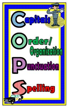 Free Use this 11x17 poster to remind your students to check their writing for capitals, order and organization, punctuation, and spelling!!!