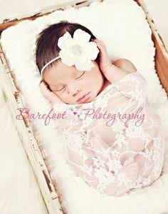White Stretchy Lace Wrap  Newborn Baby Girl Photo by karlyskloset, $10.00