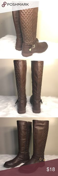Charlotte Russe Brown Studded Boots Used, in good condition Charlotte Russe Shoes