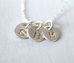 145 I-love-THEE Monogram Necklace in Fine Silver - personalized and hand stamped jewelry, choose three initials