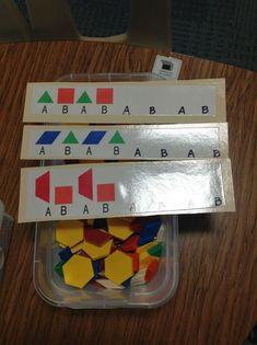 Teach Love Autism: Sharing What Works: Work Tasks 2 Patterning Kindergarten, Kindergarten Math, Teaching Math, Preschool Activities, Teaching Spanish, Autism Classroom, Special Education Classroom, Classroom Setup, Vocational Tasks