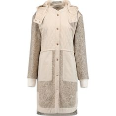 See by Chloé Quilted cotton and wool-blend bouclé hooded coat ($300) ❤ liked on Polyvore featuring outerwear, coats, cream, petite coats, pink hooded coat, see by chloé, pink oversized coat and hooded coat