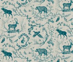 Woodland Winter Toile (in Indigo) fabric by nouveau_bohemian on Spoonflower - custom fabric