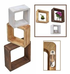 http://ift.tt/1NWveSB 3er Set Lounge Cube Regal Landhaus Stil Wandregal Hängeregal Massivholz in Hellbraun Dunkelbraun und Shabby Weiß $(noqwndg)!#