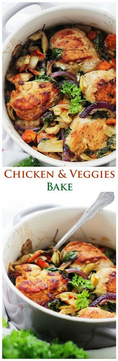 Paleo Baked Chicken with Spinach and Artichokes - Chicken, spinach and artichokes come together in this delicious, ONE-POT RECIPE! #paleo #glutenfree