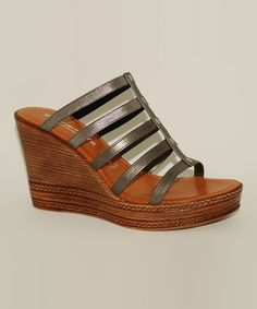 Love this Pewter Adonia Wedge Sandal by Contesa by Italian Shoemakers on #zulily! #zulilyfinds