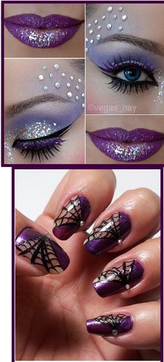 Halloween make up Halloween Nail Designs, Halloween Nail Art, Halloween Make Up, Pretty Halloween, Vintage Halloween, Halloween Costumes, Halloween Karneval, Witch Makeup, Maquillage Halloween