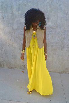 :-) bright yellow maxi dress