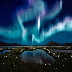 The Northern Lights in Reykjavik, Iceland. The official Aurora season in Iceland is from October till March. The ideal conditions to see them are when it is cold, cloudless and dark outside and the Aurora activity is high. Beautiful Sky, Beautiful Landscapes, Beautiful Places, Beautiful Pictures, Pretty Sky, Beautiful Scenery, Simply Beautiful, Amazing Places, All Nature