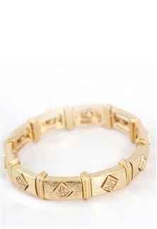 All Done Up Rhinestone Gold Bracelet