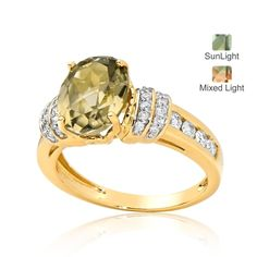3ct Oval Cut Zultanite & Dia Stepped Dress Ring 9ct YG