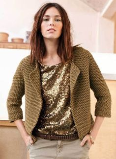 zoom jacket-vest in rice stitch - free explanations - Phildar creation - maylis sanjuan - - zoom veste-gilet au point de riz - explications gratuites - création Phildar zoom jacket-vest in rice stitch - free explanations - Phildar creation - Crochet Cardigan, Knit Crochet, Moda Crochet, Knit Jacket, Knit Fashion, Mode Inspiration, Knitting Yarn, Knit Patterns, Knitwear