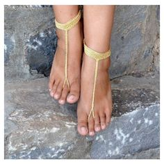 Gold Nomad Barefoot Sandals,Crochet Sandals,Sexy Foot Jewelry , Ankle... ❤ liked on Polyvore