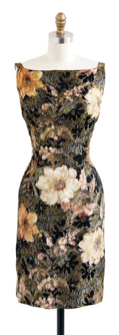 vintage early 1960s night blossoms floral dress | gold + silver silk lamé | http://www.rococovintage.com