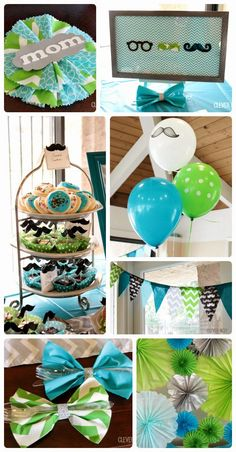Little Man themed baby shower. Could also be a first birthday party. Lots of cute ideas at Clever Nest #aquagraylime #boysfirstbirthday #hip...