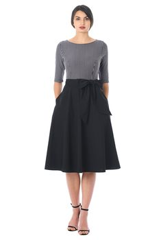 Offering textural contrast in a deep hued palette, our versatile dress pairs a fitted stripe cotton knit bodice with a full flare cotton poplin skirt. Off Shoulder Lace Dress, Poplin Dress, Fast Fashion, Indian Wear, Casual Dresses, Ready To Wear, Style Inspiration, Naughty Librarian, Clothes For Women