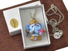Ganesh Ganesha handmolded in polymer clay, indigo blue