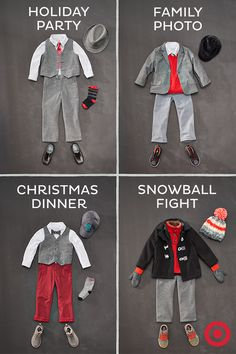 One key suit. Four great ways to wear it. Start with a suit and add a few mix-and-match pieces, like a sweater, vest, jacket, cute ties and a variety of shoes—from casual to dressy. Your best-dressed little guy will be holiday party-ready from head to toe.
