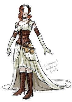 Steampunk wedding dress on Etsy