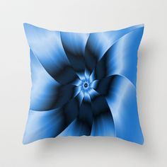 A digital abstract fractal image with a monochrome nine petal flower design in shades of blue.