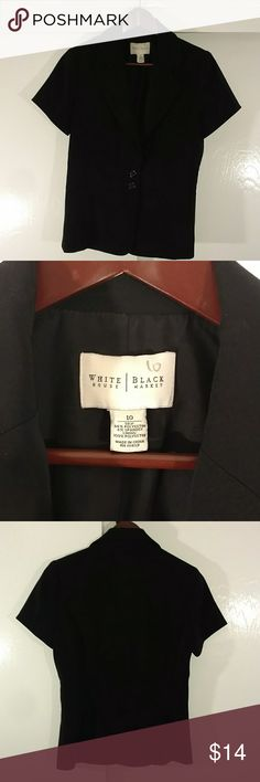 Women's black blazer size 10 This is a woman's black blazer size 10 by White House Black Market , 94% polyester 6% spandex, it's designed with the look like black belt with two buttons. See the pictures please sorry my pictures are not that great not enough light. White House Black Label Jackets & Coats Blazers