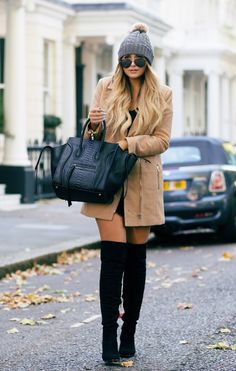 This outfit is totally up my alley! I love the mixture of the beanie, the caramel coat and those awesome boots! Super chic in my book! Perfect outfit for the fall! #fallfashion #streetfashion
