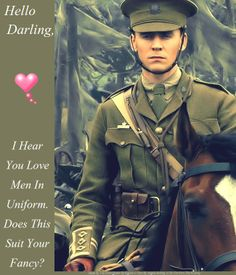 Made by Me~ The Frost Queen Of Asgard w/ text by @samuraistar  ~ Hello Darling~ Men In Uniform~ Tom as Captain Nicholls in War Horse  (I Do Not Own The Picture)