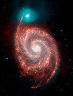 Universe Astronomy Whirlpool Spiral Galaxy - From the Helix Nebula to the Sombrero galaxy—see top infrared shots from the Spitzer Space Telescope, chosen by Spitzer scientists. Cosmos, Spitzer Space Telescope, Hubble Space, Star Formation, Whirlpool Galaxy, Andromeda Galaxy, Galaxy Galaxy, Across The Universe, Carl Sagan