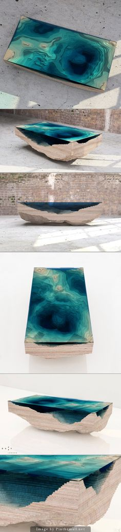 Layered Glass Table Concept Creates a Cross-Section of the Ocean by Duffy London