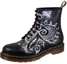 Dr Martens 1460 Black Silver Silver Print Hongos numbered limited ed 2008 by Aprille Soons Palmer