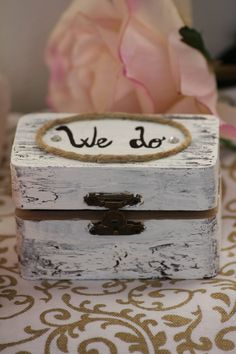 country chic ring bearer - wooden cracked painted box- shabby chic styled. $18.00, via Etsy.