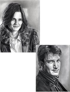 Drawing Print of Rick Castle and Kate Beckett 2 by JohnDiBiaseArt, $18.50