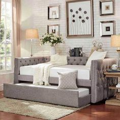 Nassau Smoke Track Arm Chesterfield Daybed with Trundle