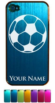 Engraved Aluminum iPhone 4/4S Case/Cover - SOCCER BALL - Personalized for FREE (Click the CONTACT SELLER link after purchase to tell us your case color and engraving request):Amazon:Cell Phones & Accessories