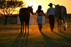 Engagement photo with horses