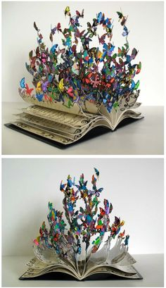 Amazing DIY Home Decor Craft Ideas, You Can Easily Complete Paper art, Book art, Book sculpture, Book Crafts, Decor Crafts, Diy And Crafts, Arts And Crafts, Paper Crafts, Altered Book Art, Book Sculpture, Recycled Art, Recycled Books