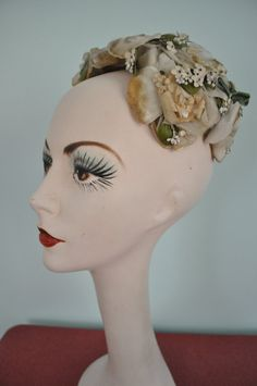 vintage hat 1940s floral leaf