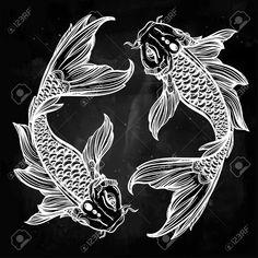 art deco koi fish border - Google Search