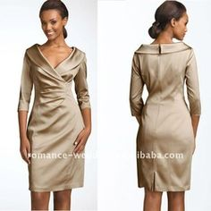 dress weding on sale at reasonable prices, buy Elegant Open V neck 3 4 short sleeve Mother of the Bride Dress 2011 from mobile site on Aliexpress Now! Mother Of Bride Outfits, Mother Of Groom Dresses, Bride Groom Dress, Mothers Dresses, Mother Of The Bride, Over 50 Wedding Dress, Wedding Dress Suit, Wedding Attire, Nice Dresses