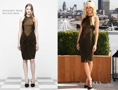 Alexander Wang olive green satin halter dress with knotted jersey skirt. Fall is right around the corner! Pair it with a wrap and booties.