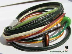 Farbiges Armband, Leder, Baumwolle, Holzperlen von Bijouxbaron_24 auf DaWanda.com
