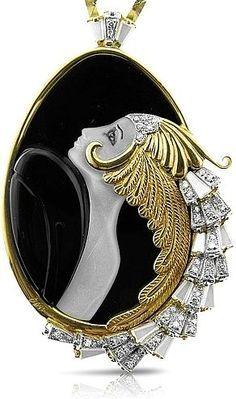 Erte Jewelry Beauty of the Beast Art Deco. Just stunning craftsmanship! Erte was a genius! Bijoux Art Nouveau, Art Nouveau Jewelry, Jewelry Art, Antique Jewelry, Vintage Jewelry, Fine Jewelry, Jewelry Design, Jewellery, Victorian Jewelry