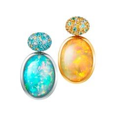 Thomas Jirgens Juwelenschmiede – WATER AND FLAMES Welo opals in white and yellow gold, sapphires and Paraiba Tourmalines. Thomas Jirgens Juwelenschmiede – WATER AND FLAMES Welo opals in white and yellow gold, sapphires and Paraiba Tourmalines. Opal Earrings, Opal Jewelry, Luxury Jewelry, Modern Jewelry, Stone Jewelry, Jewellery, Tiffany Jewelry, Jewelry Illustration, Illustration Fashion