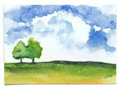 Summer Landscape Watercolor ... from SusanWindsor on Wanelo