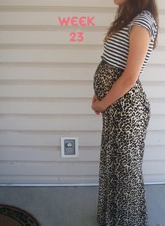 Leopard maxi with striped crop top...cute maternity outfit!
