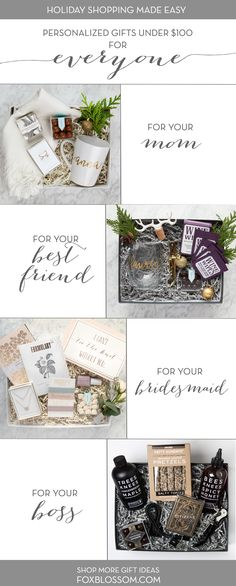 Create unique, personalized gift sets for everyone on your list! Tons of items to choose from, hand-wrapped for you in luxury packaging. We even include a complimentary Rifle Paper Co. Enjoy stress free gifting this holiday season! Will You Be My Bridesmaid Gifts, Wedding Gifts For Bride And Groom, Personalized Wedding Gifts, Customized Gifts, Party Gifts, Diy Gifts, Christmas Gifts For Parents, Luxury Business Cards, Curated Gift Boxes